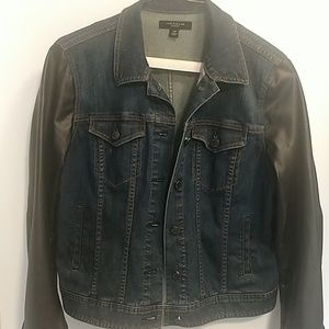 Ann Taylor faux leather sleeved jean jacket